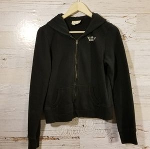 Express studded full zip hooded sweatshirt